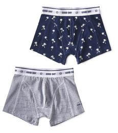 boxers palm blue & mini stripe blue Little Label