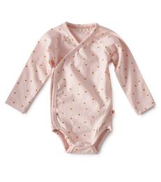 baby wikkel romper - roze hartjes print - Little Label