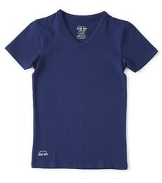 donkerblauw v-neck shirt Little Label