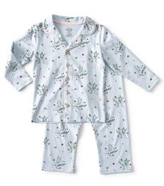 blauw meisjes grandad pyjama bloemetjes Little Label