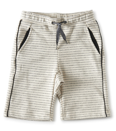 jongens shorts contrast - creme black stripe- Little Label