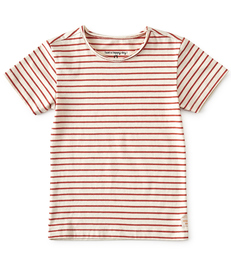 top raw edge neck jongens - rood gestreept - Little Label