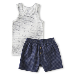 zomer pyjama jongens - blauwe ruitjes - Little Label
