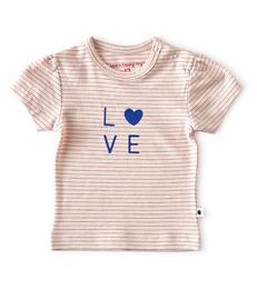baby meisjes shirt korte mouw - roze strepen - Little Label