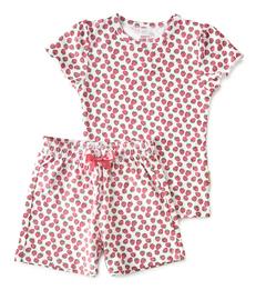 korte baby pyjama rode aardbeien Little Label