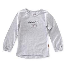 meisjes shirt lange mouw - grey mel- Little Label