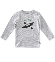 jongens longsleeve - grey melee thin black stripe - Little Label