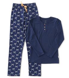 dames pyjama henley blauw strikjes Little Label