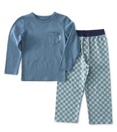jongens pyjama-set blauw ruitjes Little Label