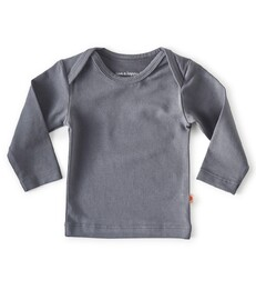 baby shirt lange mouw - antraciet - Little Label