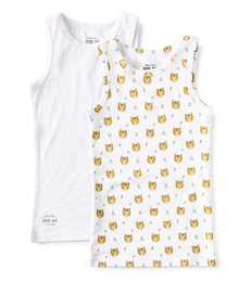 set jongenshemden wit en tijger print Little Label organic cotton