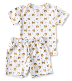zomer pyjama baby jongen wit tiger print Little Label
