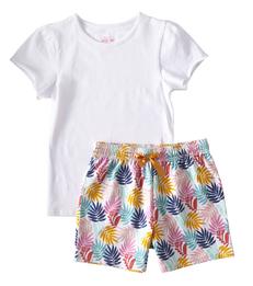 korte zomer pyjama - palm leaves pink - Little Label