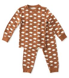 baby pyjama jongens bruin met wolkjes print Little Label