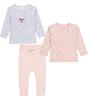 dreiteiliges baby bekleidungset - rosa mit herzen